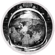 Astronaut World Map 1 Round Beach Towel by Bekim Art