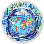 Astronaut World Map 2 Round Beach Towel by Bekim Art
