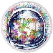 Astronaut World Map 6 Round Beach Towel