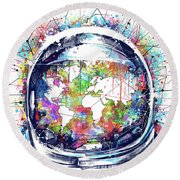 Astronaut World Map 6 Round Beach Towel