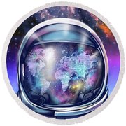 Astronaut World Map 9 Round Beach Towel by Bekim Art