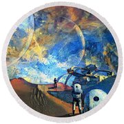 Astronauts On A Red Planet Round Beach Towel