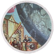 Astronomers Looking Through A Telescope Round Beach Towel by Andreas Cellarius