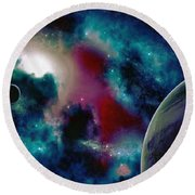 Astronomy Painting Glammed Out Teal Round Beach Towel