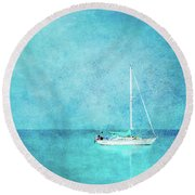 Round Beach Towel featuring the mixed media At Anchor by Betty LaRue