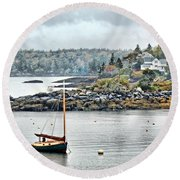 At Anchor - Maine Round Beach Towel