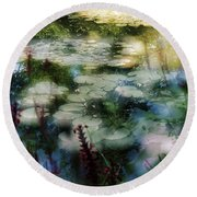At Claude Monet's Water Garden 2 Round Beach Towel