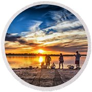 At Days End Round Beach Towel by Phil Mancuso