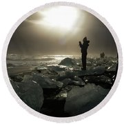 The Diamond Beach, Jokulsarlon, Iceland Round Beach Towel by Dubi Roman