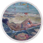 At Dilesi Beach Athens Round Beach Towel