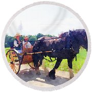 Horse And Buggy At Mount Vernon Round Beach Towel