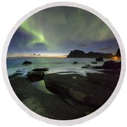At Night Round Beach Towel