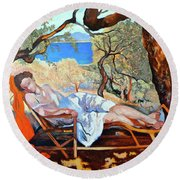 Round Beach Towel featuring the painting At Peace by Tom Roderick