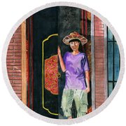 Round Beach Towel featuring the painting At Puri Kelapa by Melly Terpening