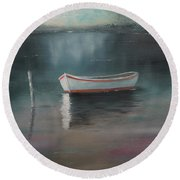 Round Beach Towel featuring the painting At Rest by Chris Fraser