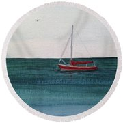 At Rest Round Beach Towel by Wendy Shoults