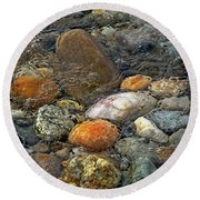 Round Beach Towel featuring the mixed media At Rest Within The Streaming Tide by Lynda Lehmann