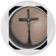 Round Beach Towel featuring the mixed media At Saint Mary-corwin Hospital by Lenore Senior
