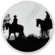 At Sunset On The Ranch Round Beach Towel