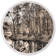 Round Beach Towel featuring the photograph At Swamps Edge by Kristin Elmquist