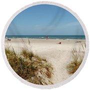 On The Beach Round Beach Towel by Amar Sheow