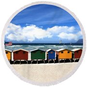 Round Beach Towel featuring the photograph At The Beach by David Dehner