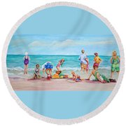 Round Beach Towel featuring the painting At The Beach by Patricia Piffath