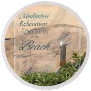 Round Beach Towel featuring the photograph At The Beach by Robin-Lee Vieira