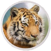 At The Center - Tiger Art Round Beach Towel