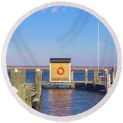 Round Beach Towel featuring the photograph At The Dock by Colleen Kammerer