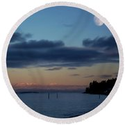 Round Beach Towel featuring the painting At The End Of The Day - Landscape Art by Jordan Blackstone