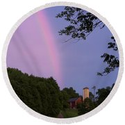 At The End Of The Rainbow Round Beach Towel by Nicki McManus