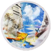 Round Beach Towel featuring the digital art At The Feet Of Jesus by Dolores Develde