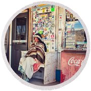 At The Hackberry General Store Round Beach Towel
