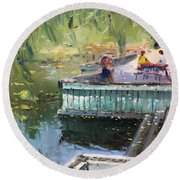 At The Park By The Water Round Beach Towel