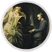 At The Piano Round Beach Towel