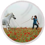 At The Poppies' Field... 2 Round Beach Towel