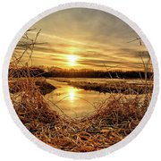 At The Rivers Edge Round Beach Towel