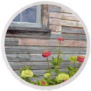 Round Beach Towel featuring the painting At The Shelburne by Lynne Reichhart
