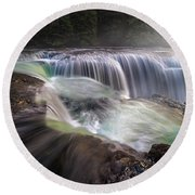At The Top Of Lower Lewis River Falls Round Beach Towel