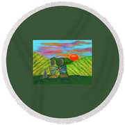 At The Vineyard Round Beach Towel