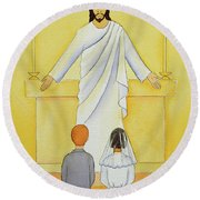 At Their First Holy Communion Children Meet Jesus In The Holy Eucharist Round Beach Towel