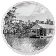 Atchafalaya Basin Fishing Camp Round Beach Towel