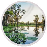 Round Beach Towel featuring the photograph Atchafalaya Basin Sunrise by Andy Crawford