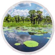 Round Beach Towel featuring the photograph Atchaflaya Basin Reflection Pool by Andy Crawford
