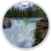 Athabasca Falls, Ab  Round Beach Towel by Heather Vopni