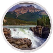 Athabasca Falls Round Beach Towel by Heather Vopni