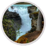 Athabasca Falls Jasper National Park Round Beach Towel