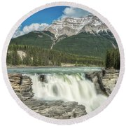 Athabasca Falls Round Beach Towel