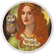 Athena And Her Owl- Wise Ones Round Beach Towel